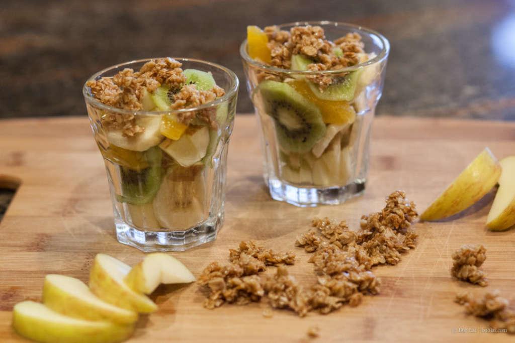 Fresh Fruit Salad with honey roasted oats