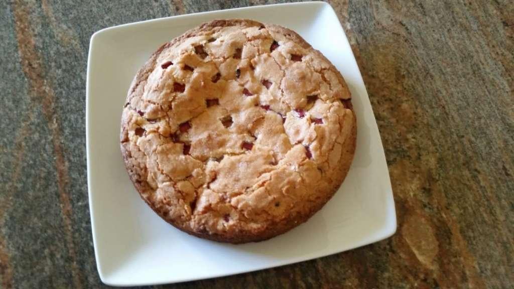 Strawberry rhubarb coconut cake