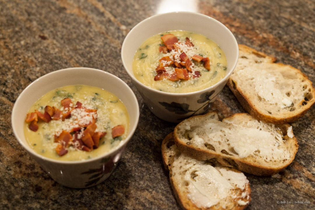 Acorn Squash Soup with Kale and Bacon | Three More Bites