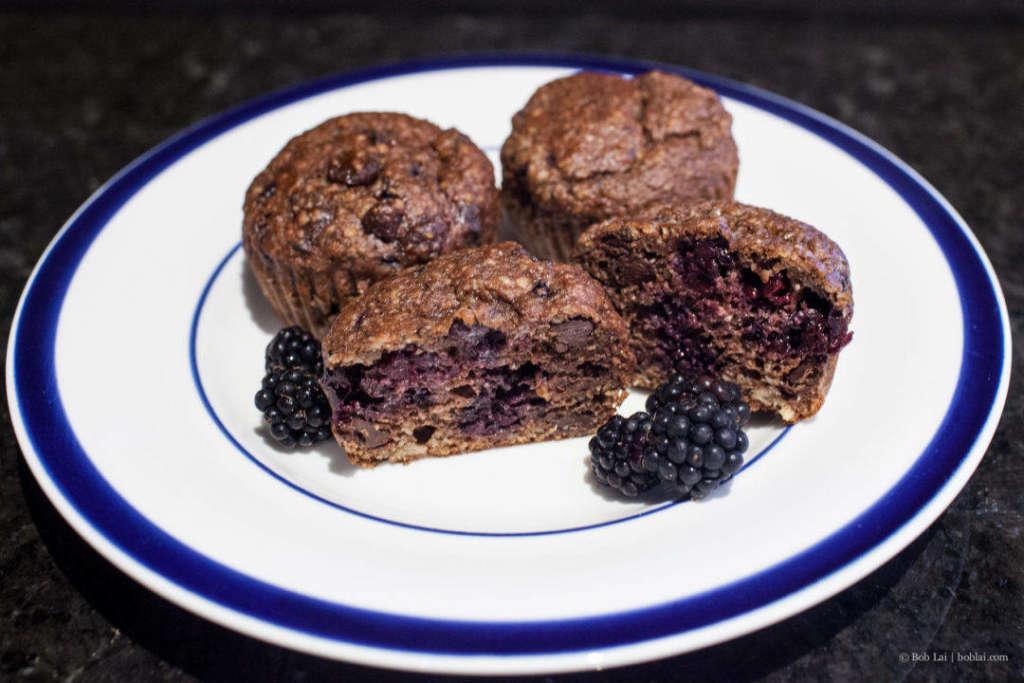 Banana and blackberry muffins